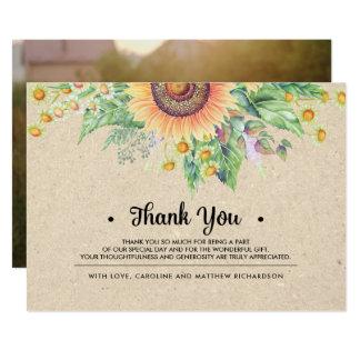 Obrigado rústico do girassol você cartões com