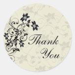 Obrigado selar - floral preto e branco adesivos redondos