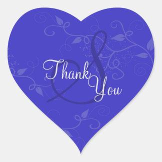 Obrigado selar - o casamento do monograma dos adesivo coração
