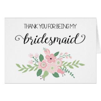 Obrigado sendo meu cartão da dama de honra