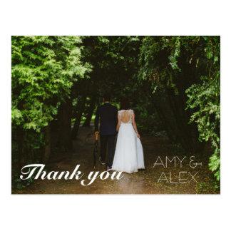 Obrigado simples da foto do casamento você cartão postal