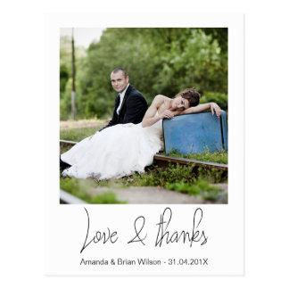Obrigado simples do casamento da foto você cartão