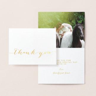Obrigado simples do casamento do roteiro da folha cartão metalizado