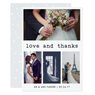 Obrigado simples do casamento do texto da máquina convite 12.7 x 17.78cm