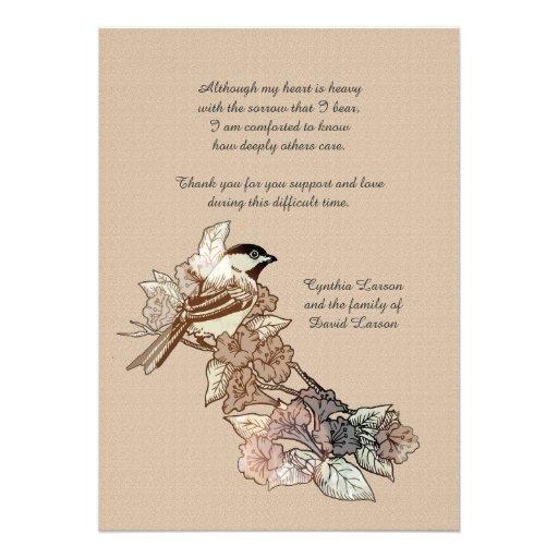 Obrigado solitário do falecimento do pássaro você  convites personalizado