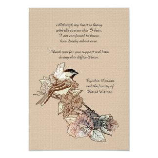 Obrigado solitário do falecimento do pássaro você convite 8.89 x 12.7cm
