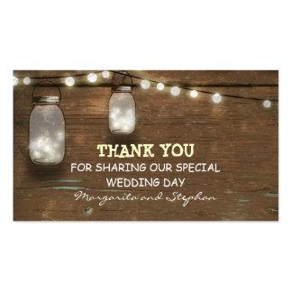 obrigado Tag do casamento com o frasco de pedreiro Cartão De Visita