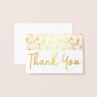 Obrigado teste padrão floral do cartão da folha de