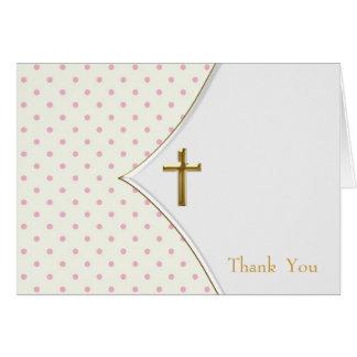Obrigado transversal branco cor-de-rosa do batismo cartão de nota