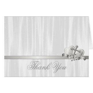 Obrigado transversal branco do comunhão do batismo cartão de nota