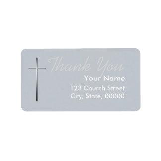 Obrigado transversal cristão do metal você etiqueta de endereço