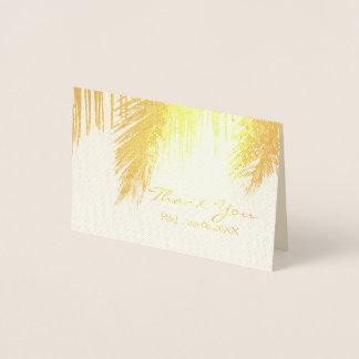 obrigado tropical do casamento do destino da cartão metalizado