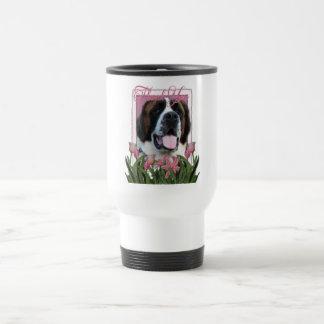 Obrigado - tulipas cor-de-rosa - St Bernard - Mae Caneca Térmica