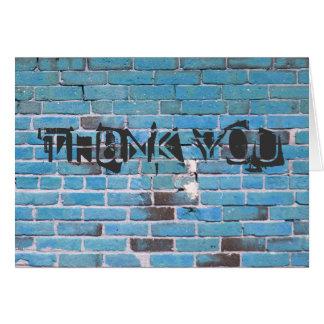 Obrigado urbano do tijolo azul você cartões de