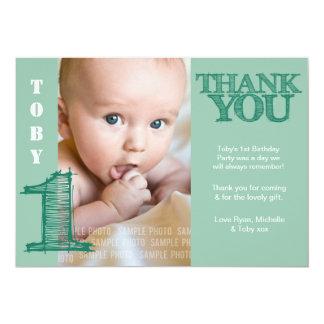 Obrigado verde do primeiro aniversario do bebé convite personalizados