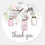 Obrigado verde dos frascos de pedreiro do rosa e adesivos redondos