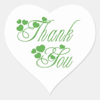 Obrigado verde e branco você ama corações - adesivo coração