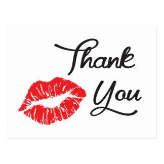 Obrigado vermelho do beijo do batom você cartão