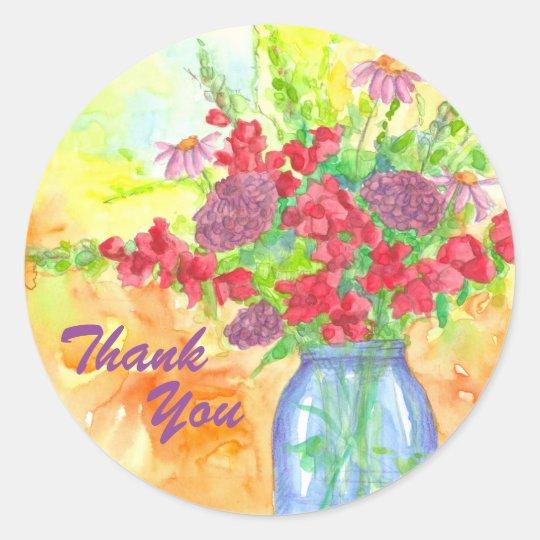Obrigado vermelho do buquê da flor você adesivo redondo