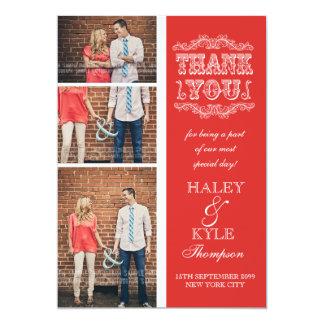 Obrigado vermelho do casamento da papoila do convites personalizado