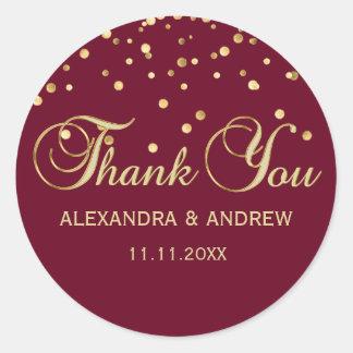Obrigado vermelho elegante do casamento do ouro de adesivo redondo