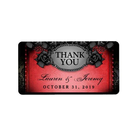 Obrigado vermelho & preto do casamento do Dia das Etiqueta De Endereço