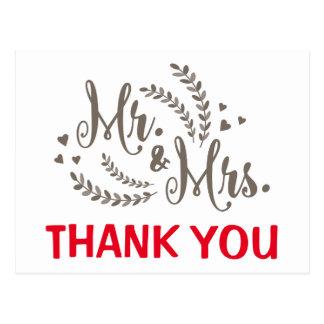 Obrigado vermelho você samambaia floral & cartão postal