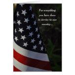 Obrigado veterano no cartão da bandeira do dia de