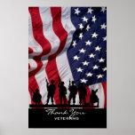 Obrigado veteranos - bandeira americana e soldados impressão