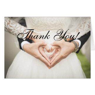 Obrigado vindo ao cartão de casamento