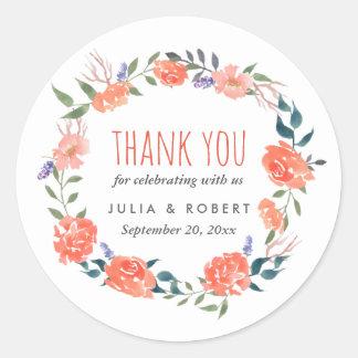 Obrigado Wedding floral vermelho da grinalda | da Adesivo Redondo