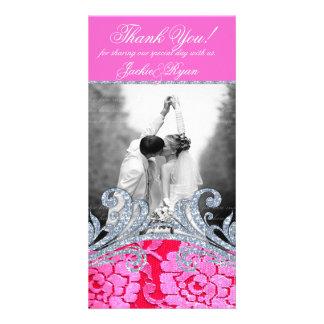 Obrigado Wedding você brilho floral da flor do laç Cartão Com Foto