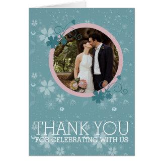 Obrigado Wedding você cartão com fotos floral azul