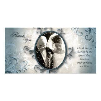 Obrigado Wedding você cartão com fotos - folha do Cartão