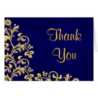 Obrigado Wedding você cartão de brocado do azul e