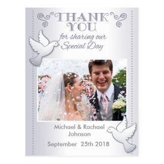 Cartão Postal Obrigado Wedding você Lovebirds do cartão da foto