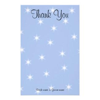 Obrigado Wedding você na luz - azul com estrelas b Papel Personalizados