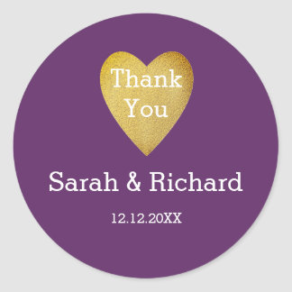 Obrigado Wedding você roxo do coração do ouro Adesivo Redondo