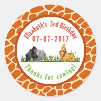 Obrigados do aniversário da selva do safari do adesivo redondo