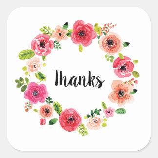 Obrigados florais que empacotam o favor de partido adesivo quadrado
