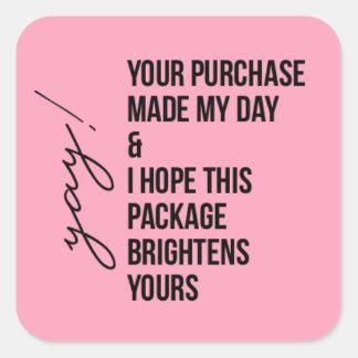 Obrigados para a etiqueta da compra