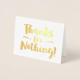 Obrigados para nada rico cartão metalizado