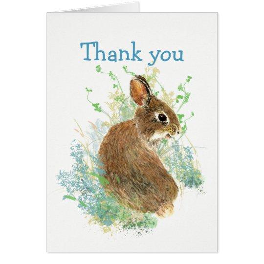 Obrigados para o coelho de coelho bonito de escuta cartão comemorativo