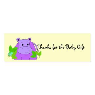 Obrigados roxos do hipopótamo para o presente do cartoes de visita