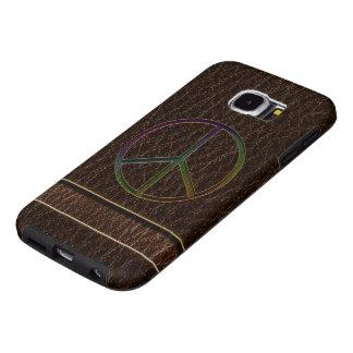Obscuridade da cor da paz do Couro-Olhar Capa Para Samsung Galaxy S6