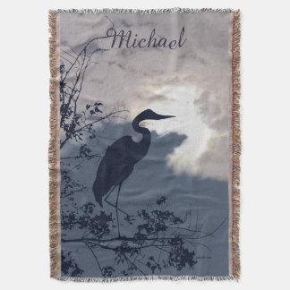 Observação de pássaros azul do por do sol da throw blanket