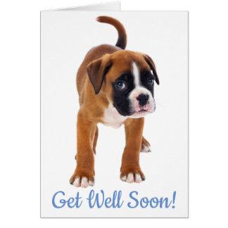 Obtenha logo o cartão bom do cão do pugilista -
