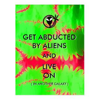 Obtenha sequestrado por aliens e viva em engraçado cartão postal