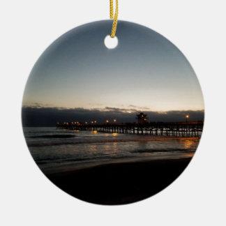 oceano Califórnia do nighttime do cais de San Ornamento De Cerâmica