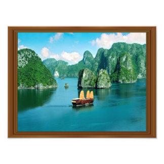 Oceano de madeira do veleiro de Malaysia do quadro Impressão De Foto
